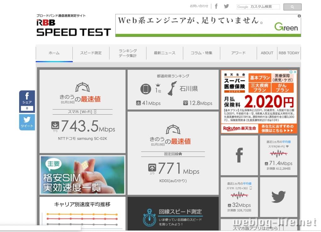 おすすめ スピードテスト RBB SPEED TEST